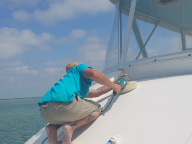 Detailing Bridgedeck On Luxury Yacht
