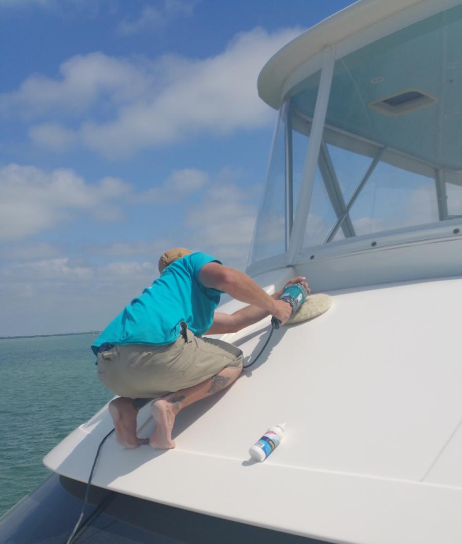 Detailing Bridgedeck On Luxury Yacht